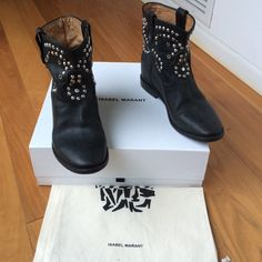 "Isabel Marant Caleen boots New in box Isabel Marant studded and strassed Caleen slouchy ankle boots with studs and jeweled embellishments and a 2"" concealed wedge to make you taller, 7/8"" heel, leather sole , size 38 , fits 7 1/2, never worn Isabel Marant Shoes Ankle Boots & Booties"