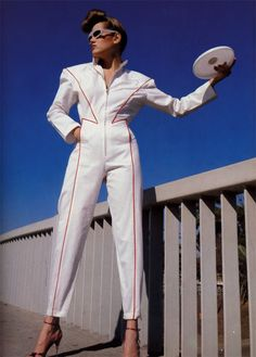 moda Vogue Paris fashion style new wave designer white jumpsuit with red pinstripe 80s And 90s Fashion, Paris Fashion, Retro Fashion, Vintage Fashion, Fashion Boots, New Wave, Vogue Paris, Space Fashion, Inspiration Mode