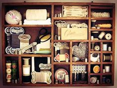 Vintage Sewing Items in a Shadow Box.