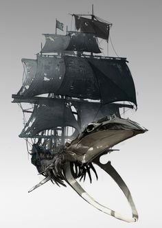 pirate ship concept - its mainly inspired by whale skull and cyber punk element.