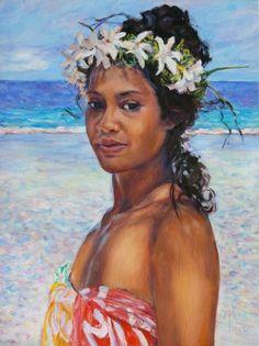 Art by Melanie Shhok Dupre Huahine Tahiti. Polynesian Art, Polynesian Culture, Portrait Photo, Portrait Art, Painting Portraits, Painting Inspiration, Art Inspo, Hawaiian People, Drawing People Faces