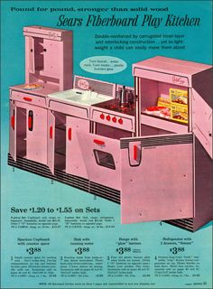 Pink Play Kitchen - Sears, 1963
