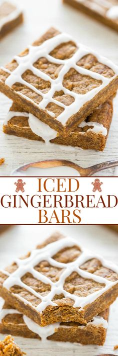 Iced Gingerbread Bars - Soft, chewy bars that are full of rich gingery molasses flavor!! Wayyyy faster and easier than rolling out gingerbread cookies! No mixer, no fuss, and the sweet icing seals the deal!!
