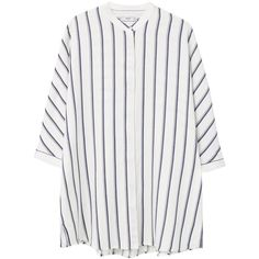 Mango Oversized Striped Shirt, Navy (230 BRL) ❤ liked on Polyvore featuring tops, button shirt, stripe shirt, navy blue shirt, elbow sleeve tops and elbow length sleeve tops