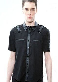 f0db86c1f32 This shirt with very slight leather stylings is perfect for the corp goth  look. It is versatile bit of club wear or