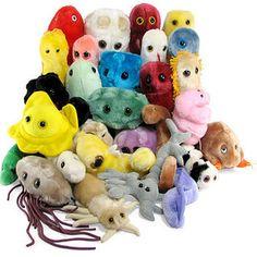 Giant Plush Microbes :) Boy, I'm such a nerd. Plush Microbes, Giant Microbes, Cool Desk Accessories, Giant Plush, Geek Toys, Weird Gifts, Cute Plush, T 4, Plushies