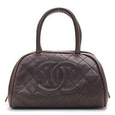 Brown Quilted Leather Small Bowler Handbag