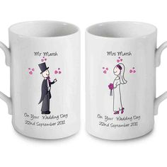 Find Me a Gift's Personalised Wedding Mugs feature a bride and groom cartoon couple and can be personalised with names and wedding date Wedding Gift Mugs, 20th Wedding Anniversary Gifts, Wedding Gifts For Bride, Best Wedding Gifts, Wedding Ideas, Bride And Groom Gifts, Bride Groom, Personalized Gifts For Her, Personalised Mugs
