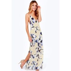 Strappy floral maxi dress Never worn. Lush Dresses Maxi