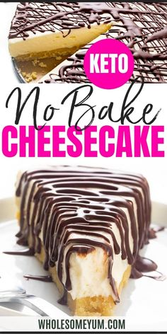No Bake Keto Cheesecake Recipe - A quick no bake keto cheesecake recipe that's so rich and creamy, you'd never guess it's sugar free. This low carb no bake cheesecake is based on the popular classic version. #wholesomeyum Low Carb Sweets, Paleo Sweets, Low Carb Desserts, Just Desserts, Keto No Bake Cheesecake, Cheesecake Recipes, Real Food Recipes, Low Carb Recipes, Dessert Recipes