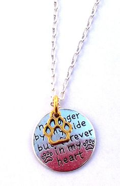 Paw Print - No Longer by my Side but Forever in my Heart Charm Necklace Dog Cat #HandmadewithLove #Pendant