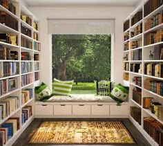 library room ideas modern home library design white open bookshelves library room ideas modern home library design white open bookshelves dark brown wooden floor bay window seat treatment square strip Home Library Design, House Design, Library Ideas, Library In Home, Reading Library, Small Home Design, Library Books, Library Corner, Library Study Room