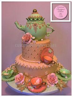 Teapot Cake - A bridal shower cake. Pretty Cakes, Cute Cakes, Beautiful Cakes, Amazing Cakes, Flower Pot Cake, Cake Flowers, Teapot Cake, Different Cakes, Edible Cake
