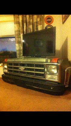 Chevy truck TV stand Car Part Furniture, Automotive Furniture, Automotive Decor, Furniture Plans, Kids Furniture, System Furniture, Modern Furniture, Furniture Design, Man Cave Garage