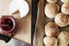fresh breakfast rolls with camembert