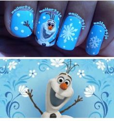 Have a look at the collection of 15 Disney Frozen Olaf nail art designs, ideas, trends & stickers of Enjoy these Olaf nails and stay up to date. Frozen Nail Art, Frozen Nails, Fancy Nails, Cute Nails, Pretty Nails, Disney Inspired Nails, Disney Nails, Winter Nail Art, Winter Nails