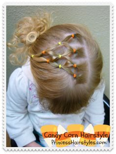Candy Corn Elastic Hairstyle Tutorial princesshairstyles.com