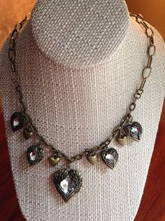 Vintage Gold Looped Chain and Hearts Necklace by ErinMichellesJewelry, $15.00