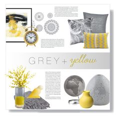 """Grey and Yellow"" by ines-nene-pt ❤ liked on Polyvore featuring interior, interiors, interior design, home, home decor, interior decorating, WallPops, Calvin Klein, Pillow Decor and Seven Gauge Studios"