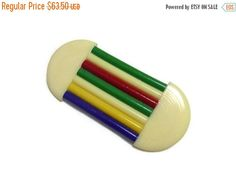 SALE Art Deco Celluloid Brooch Geometric Striped Pin, 20s Flapper Jewelry, Vintage Modernist 30s Abstract Early Plastic, Bold Statement Jewe by PopcornVintageByTann on Etsy https://www.etsy.com/ca/listing/226472456/sale-art-deco-celluloid-brooch-geometric