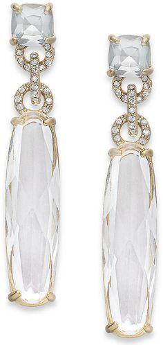 ABS by Allen Schwartz Gold-Tone Crystal Long Stone Drop Earrings