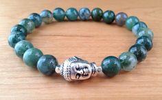 Buddha Bracelet Moss Agate Buddha Bracelet by LarisJewelryDesigns