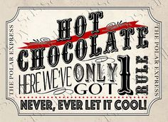 Polar Express Hot Chocolate Poster Red INSTANT by SassabyParties