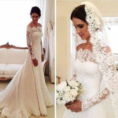 Sexy Lace Mermaid Wedding Dresses Off The Shoulder Long Sleeved Bridal Gowns | eBay
