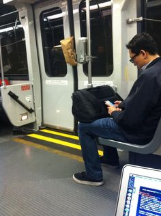 """@samuelclay says, """"Muni train swallowed this poor lady's bag."""""""