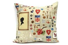 Vintage Look Throw Pillow cover  18x18inch by Lilach Oren on Etsy