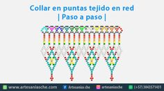 Collar en puntas tejido en red | Paso a paso | – Artesanías Che Zulu, Jewelry Patterns, Beading Patterns, Beaded Jewelry, Beaded Necklace, Beading Tutorials, Mandala, Chokers, Jewels
