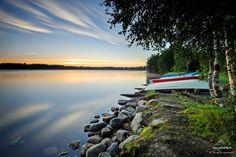 Rowing boat marina near Heikkilänsaari at Oulu river...