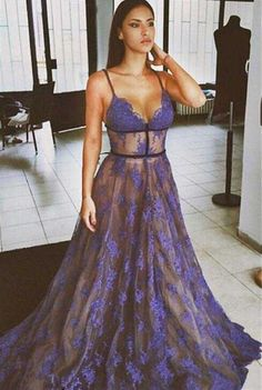 Purple Lace Prom Dresses Spaghettis Straps Nude Lining Long Sexy Evening Gowns
