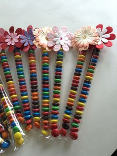 Party favours - MMs decorated with little paper flowers