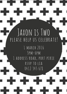 Monochrome Invitation. First Birthday Party. by ZaraStationery