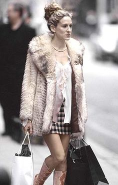 Season Three: This is what Carrie's style is to me: a vintage fur, mix-matched separates, hot shoes, and shopping bags!