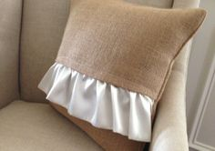 Burlap Decorative Pillow with optional ruffles -- add some tie closures to change it up