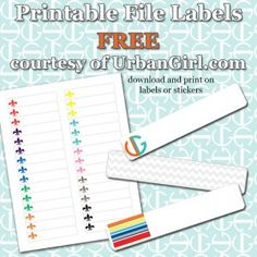 Basic colored printable file folder labels 2 sets to for Smead label templates