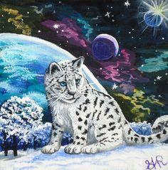 Original watercolour illustration of leopard planets universe space cosmos stars fantasy animal art