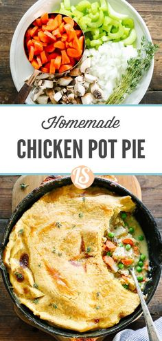 To help simplify the actual assembly of this meal, I prepare the filling and cook the pot pie in the same cast iron skillet. Yep, just one skillet! Simple Meals, Easy Healthy Dinners, Healthy Dinner Recipes, Cooking Recipes, Chicken Thigh Recipes, Grilled Chicken Recipes, Classic Chicken Pot Pie Recipe, Cooking Chicken To Shred, Skillet