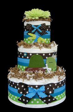 Turtle Baby Shower Centerpieces | Turtle Pond Diaper Cake Baby Shower Centerpiece by tmomma4 on Etsy