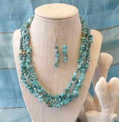 Multi Strand Turquoise Chip Necklace with by TheGreenEyedTurtle, $25.00