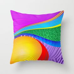Rainbow Colors Abstract Fantasy Throw Pillow