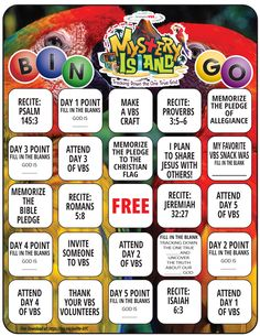 Mystery Island VBS Bingo Printable Christian Movies, Christian Music, Weird Holidays, Vacation Bible School, Funny Design, Bingo, Celebrity Weddings, How To Find Out, Mystery