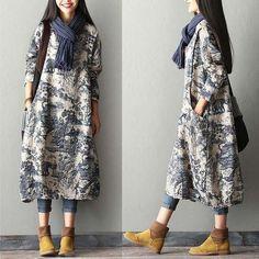 New Print Cotton Linen Dress Robe