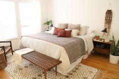 Macrame in retro bedroom.