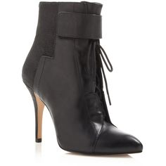 Pour La Victoire Onyx Lace Up High Heel Booties ($295) ❤ liked on Polyvore featuring shoes, boots, ankle booties, black, black laced booties, lace up booties, black ankle booties, black lace up boots and lace-up ankle booties