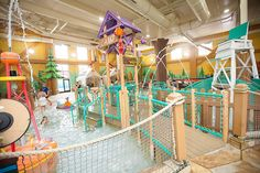 Raccoon Lagoon is a zero-depth, toddler-friendly splash zone at Great Wolf Lodge Wisconsin Dells, WI.