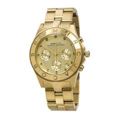 Marc by Marc Jacobs MBM3101 Women's Blade Gold Tone Dial Gold Plated Steel Bracelet Chronograph Watch