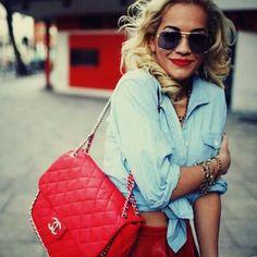 RED chanel handbag and denim